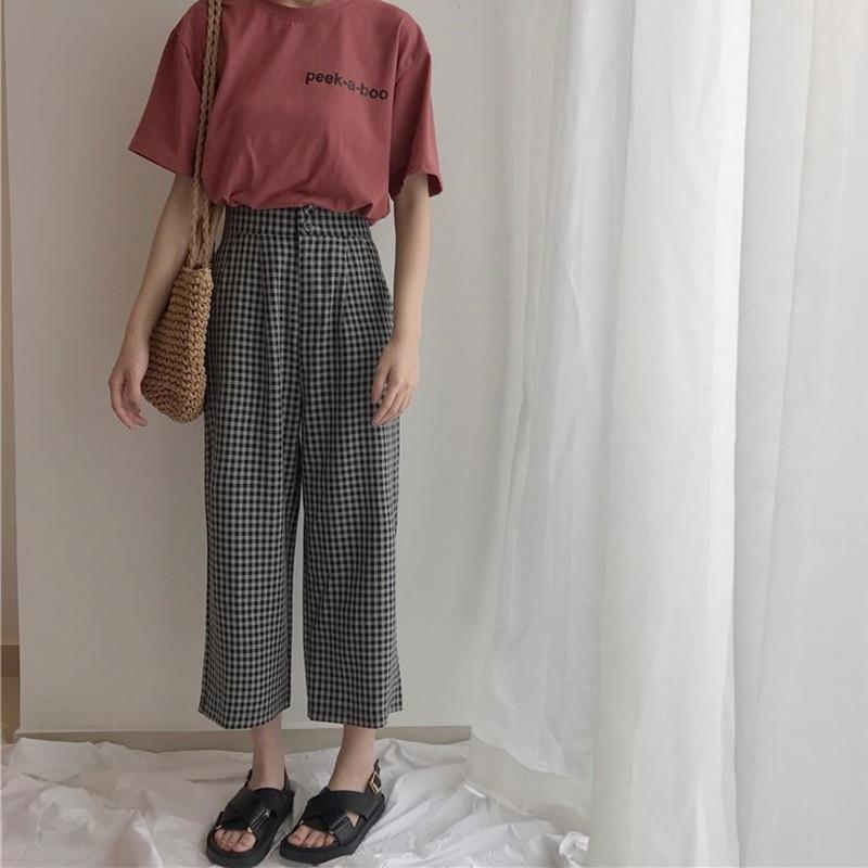 Women New Summer   Wide     Leg     Pants   Casual Loose High Elastic Waist   Pants   Loose Belt Striped Elasticated Trousers