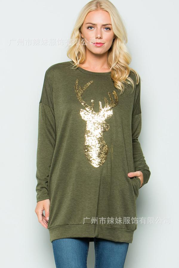 fashion hot sales Christmas deer cartoon full sleeve woman sweatshirt classical basis long pullover female hoodies in Hoodies amp Sweatshirts from Women 39 s Clothing