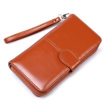 Yfashion Women Vintage Wax Oil Purse Multi-function Female Mobile Phone Bag Card Holder Money Pouch