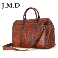 J.M.D High Quality Leather Alligator Pattern Women Handbags Dufflel Luggage Bag Fashoin Men's Travel Bag Shoulder Bag 6003