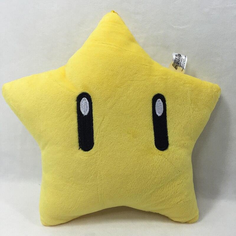 цена на 2017 Hot Sales Brand Free Shipping 1Pcs Super Mario Bros Star 9 (22CM) Plush Doll Cushion Pillow FREE SHIPPING