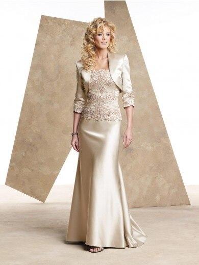 Sexy longue robe de sirène Champagne mère de la mariée avec veste longue robes madrinha 2014 longos robe de mariée mère