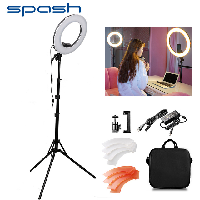 spash RL-12 LED Ring Light Circular Photography Lighting with Tripod 5500K CRI90 196 LEDs Camera Photo Studio Phone Video Lamp