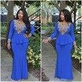 Azul de La Sirena Mangas Largas Vestidos de Noche Kaftan Marroquí Turco Vestidos De Fiesta Cristalino del Oro Con Cuentas Cuello En V Vestido de Fiesta 2016
