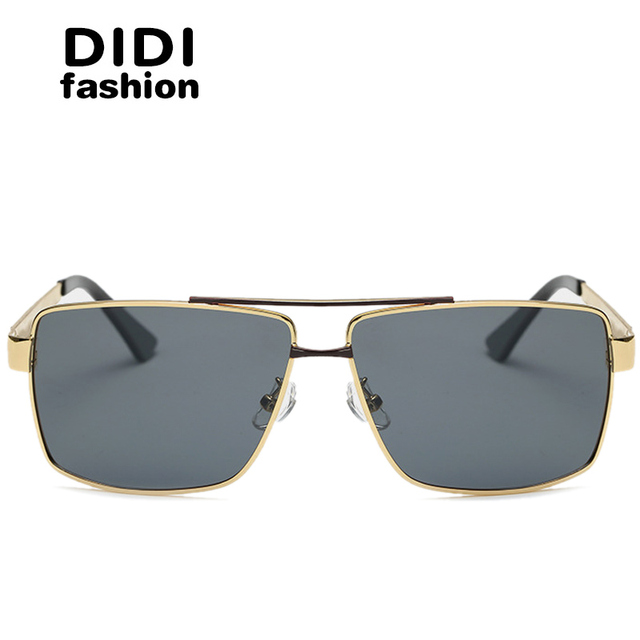 DIDI 2017 Polarized Sunglasses Men Flat Top Eyeglasses Women Rose Gold Prescription Eyewear Frames Square Driving Oculos U627