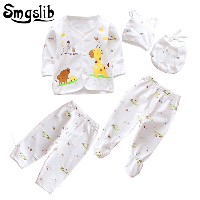 5PCS/0-3Months/ Baby newborn clothes tiny cottons infant clothing T-shirt+Pants+Hat Infant Clothing Set baby boy girl outfit
