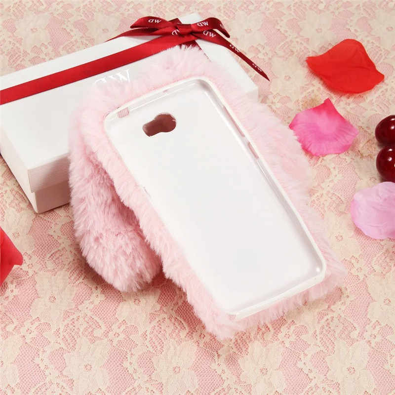 Per Huawei CUN U29 L21 L01 Caso 3D Bambola Sveglia Del Coniglio Della Peluche Delle Ragazze Peloso Soffice Pelliccia Del Telefono Custodie Per Huawei honor 5A LYO-L21 Coque