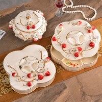 Creative Strawberry Europe ceramic fruit plate Candy Storage jar home decor wedding decoration dried fruit tray figurine gifts