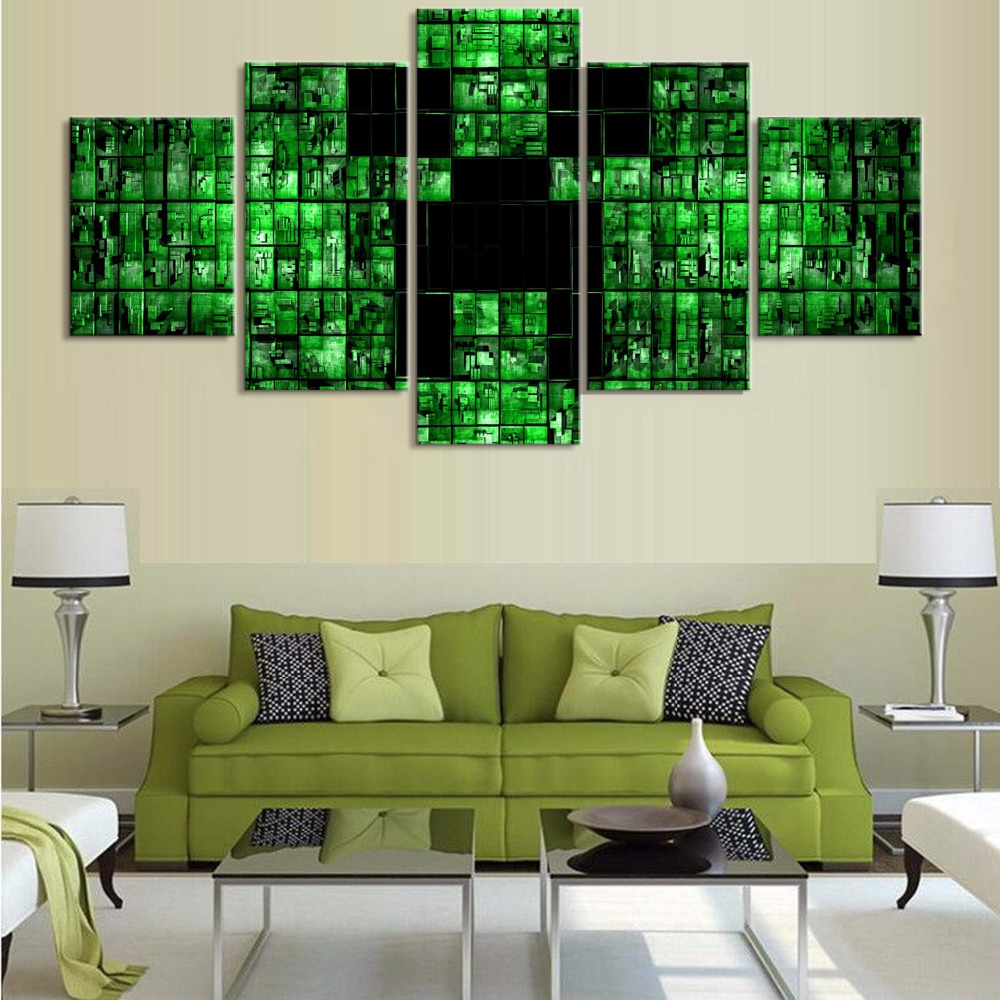 Us 561 42 Offmodern Canvas Painting Frame Hd Printed Wall Art Abstract Pictures 5 Pieces Minecraft Game Poster Living Room Home Decor In Painting