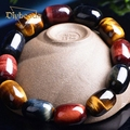 Natural Colorful Tiger Eye Stone Bead Bracelet Men And Women Tiger Natural Stone Bead Jewelery Christmas Gifts