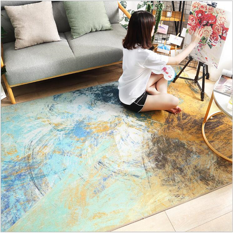 AOVOLL Ins Nordic Abstract Art Chenille Hairless Mat Carpet For Living Room Rugs For Bedroom Coffee Table Sofa Soft Large Rug