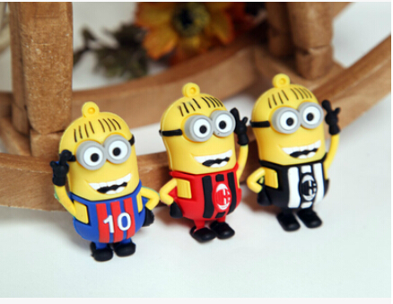 100% real capacity Minions soccer jersey lovely 2014 brazil world cup USB Flash Pen Drive8G 16GB pendriveping N3 28% off(China (Mainland))