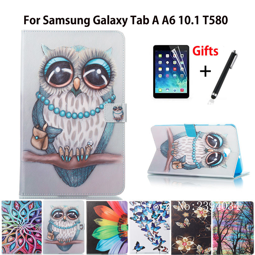 Fashion Case For Samsung Galaxy Tab A a6 10.1 2016 T580 T585 SM-T585 Case Cover Tablet Cartoon PU Leather Shell Funda +film+Pen tempered glass for samsung galaxy tab a 10 1 2016 screen protector for galaxy tab a 10 1 sm t580 sm t585 or sm p580 sm p585