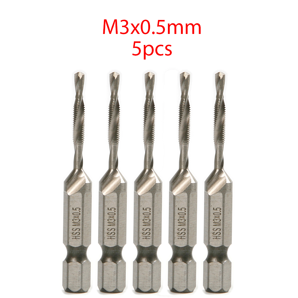 цена на 5pcs Hex Shank Metric HSS Combination Countersink Screw Thread Tap Drill Bit M3