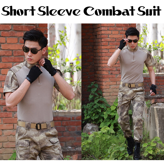 Summer Multicam Short Military Uniform Camouflage Set Men's Army Tactical Combat Shirt Cargo Pants Paintball Hunting Set military uniform multicam army combat shirt uniform tactical pants with knee pads camouflage suit hunting clothes