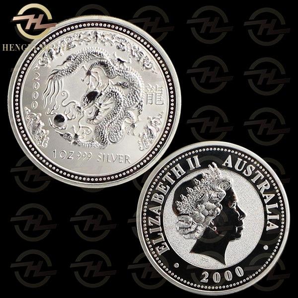 Coins & Paper Money China 2000 China Dragon 1oz Silver Coin