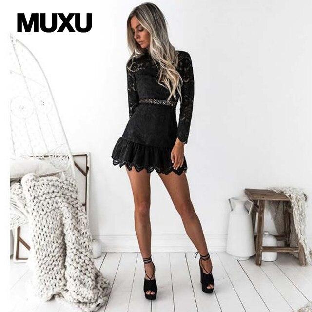 MUXU sexy robe en dentelle noire robes vêtement pour femme mini robe  patchwork robe courte vêtements 2599620731c