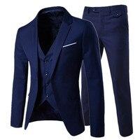 2019 men's fashion Slim suits men's business casual clothing groomsman three piece suit Blazers jacket pants trousers vest sets