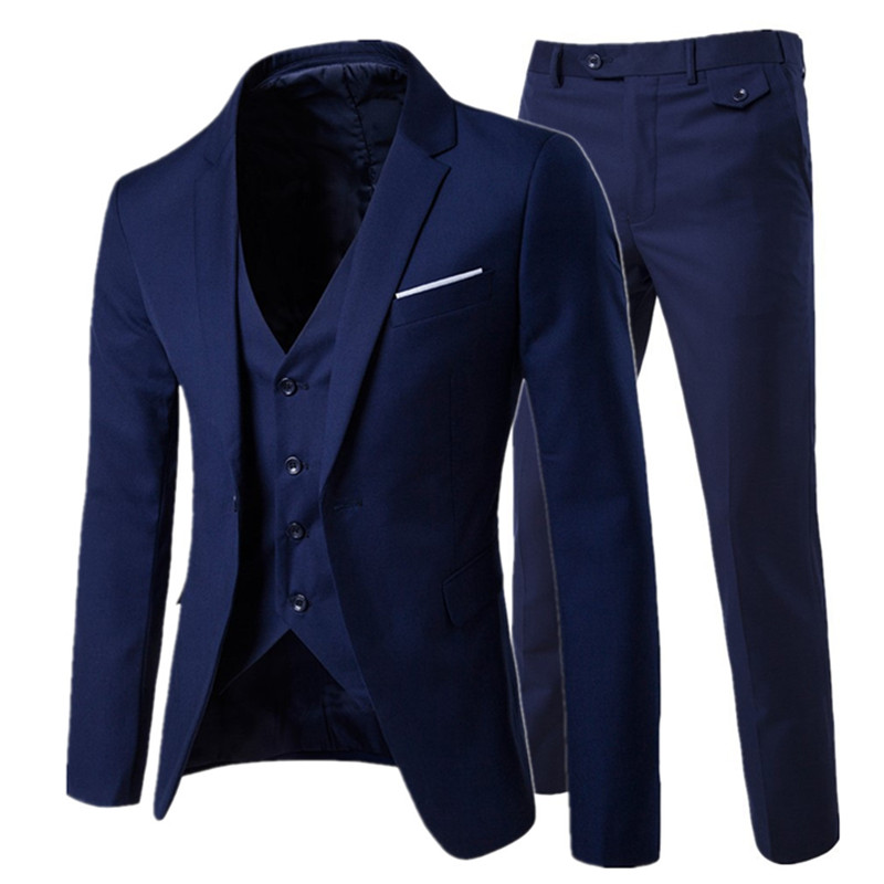 2018 / meeste moe Slim ülikonnad meeste äri vabaajarõivad groomsman kolmeosaline ülikond Blazers jope püksid püksid vest komplekti
