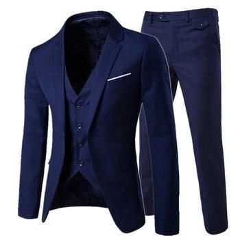 056c28c65bfec 2019 erkek moda Ince takım elbise erkek iş rahat giyim sağdıç üç parça suit Blazers  ceket pantolon pantolon yelek setleri