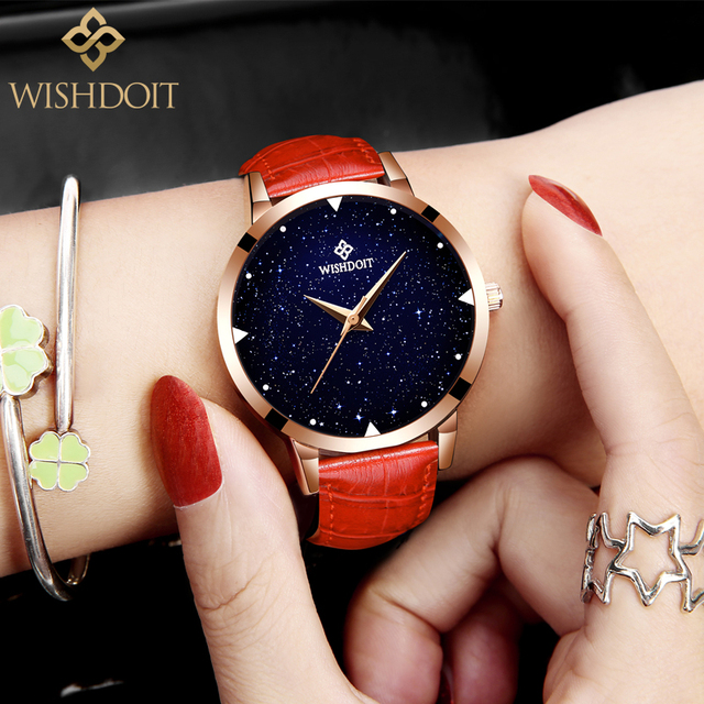 WISHDOIT Fashion Starry sky Wrist Watches Ladies Famous Quartz