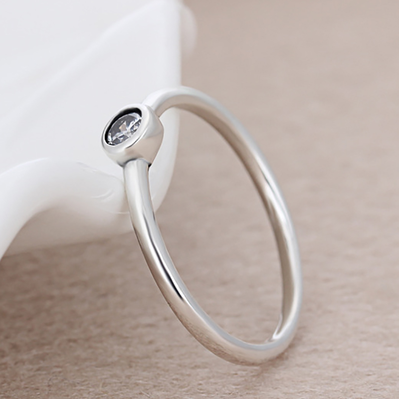 Octbyna Silver Color Simple Brilliant Stackable Pandora Finger Ring with Clear CZ Original Fine Jewelry