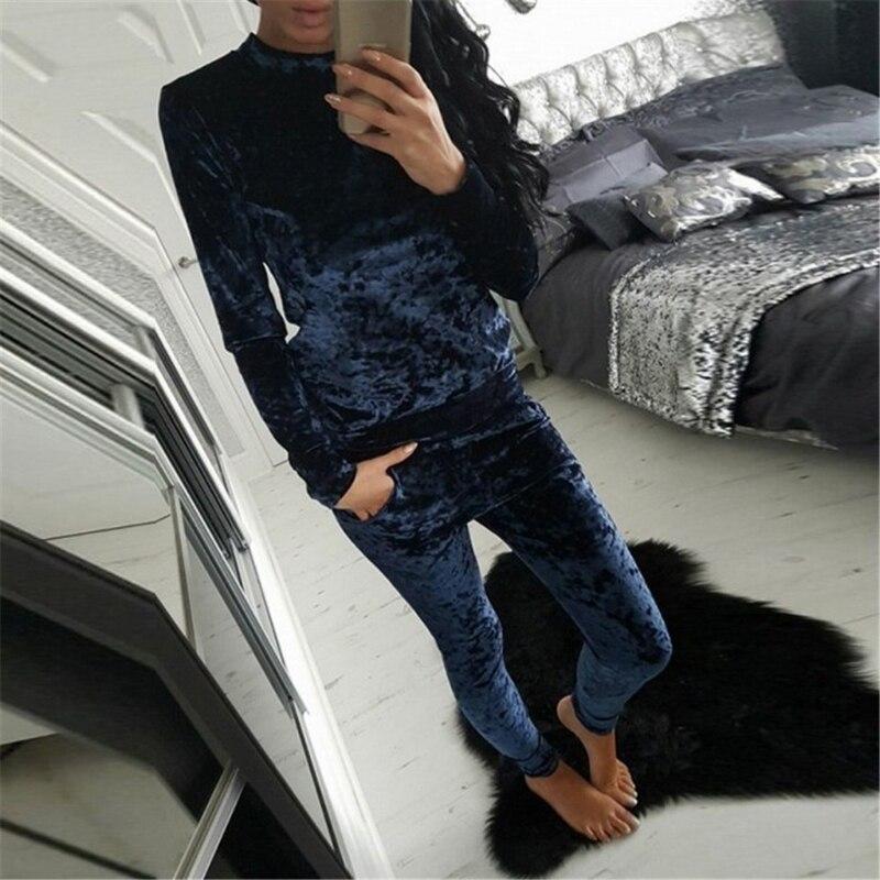 2017 Women Winter Autumn Warm Clother Velvet Tracksuit Two Piece Set Women Long Sleeve Tops+Pants Set Womens 2 pcs Outfits