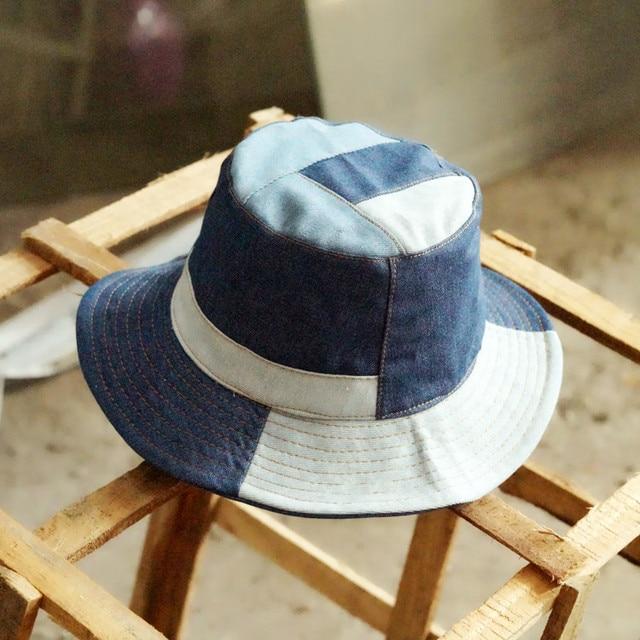 c31d3eb5946 Tanworders 2017 Autumn Vintage Denim Bucket Hats For Women Men Casual  Patchwork Panama Hat Gorras De Pesca