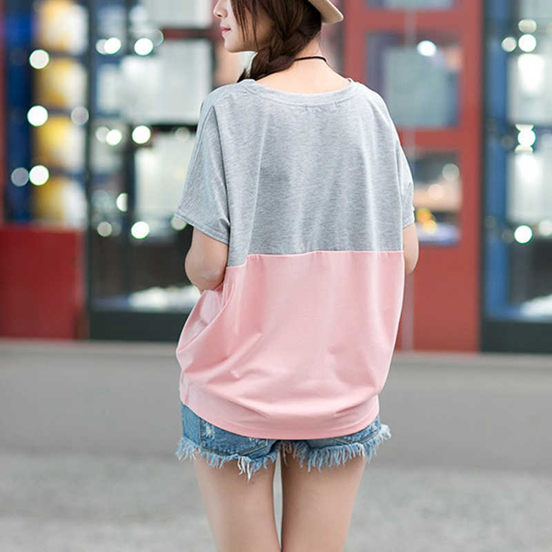 מזדמן T חולצות 2019 קיץ קוריאני O צוואר גודל גדול נשים loose קצר עטלף שרוול תלמיד כותנה תערובת דק חולצה 9637