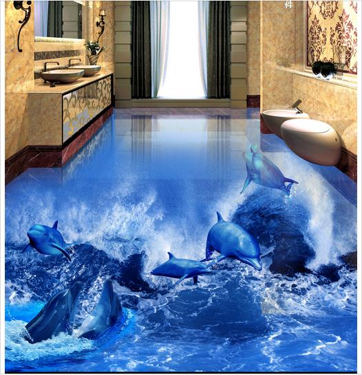 ФОТО 3d wallpaper custom 3d flooring painting wallpaper room murals Dolphins ocean waves 3 d floor to floor tile 3d photo wallpaer
