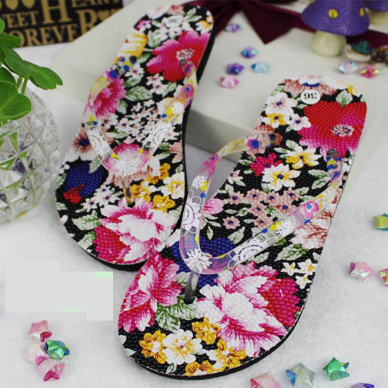 New 2017 Floral Womens Shoes Flats Sandals Casual Plus Size Beach Slippers Women Outside Flower Flip Flops Non-slip Summer Shoes alex evenings new purple plum sheer floral lace womens size 6 shrug jacket $90