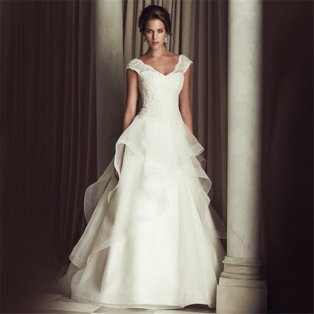 Jeanne Love Cap Sleeves A Line Vestido De Noiva Luxurious Robe De Mariage Bridal Dress Wedding Dresses 2017 Casamento YN3301