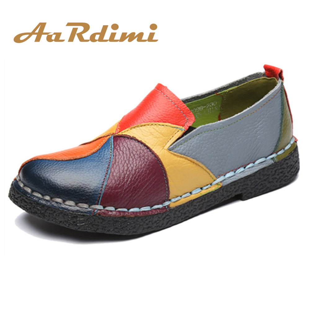 2017 Handmade 100% Genuine Leather Women Shoes Casual Spring Autumn Slip On Round Toe Women Loafers Vintage Flat Shoes Woman фонарь petzl tactikka rgb e89abc desert