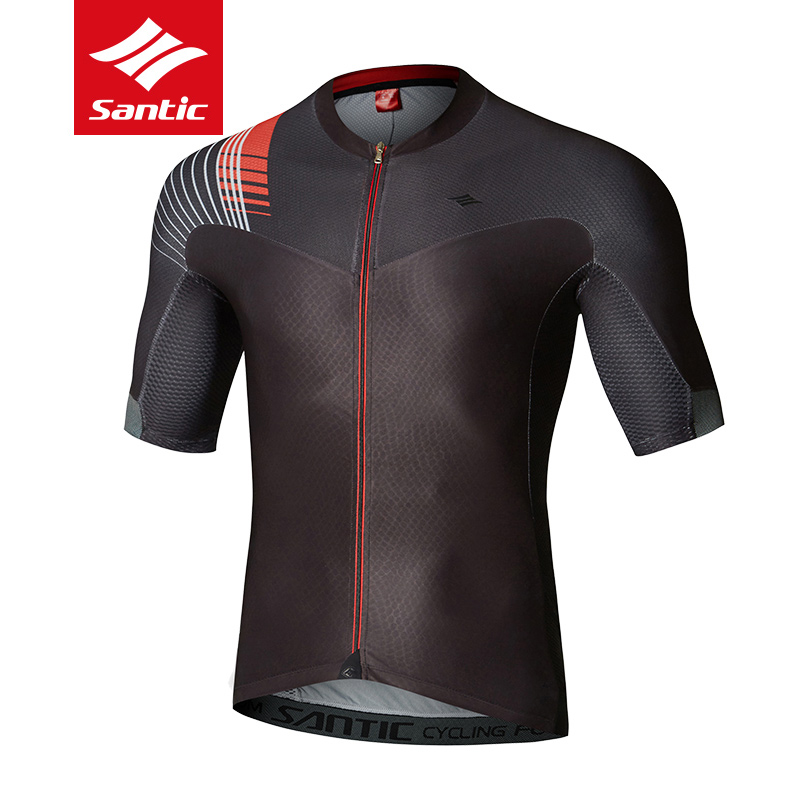 Santic Men Prefessional Bicycle Cycling Jersey Short Sleeve Breathable MTB Mountain Road Bike Shirts Anti-Sweat Riding Jersey