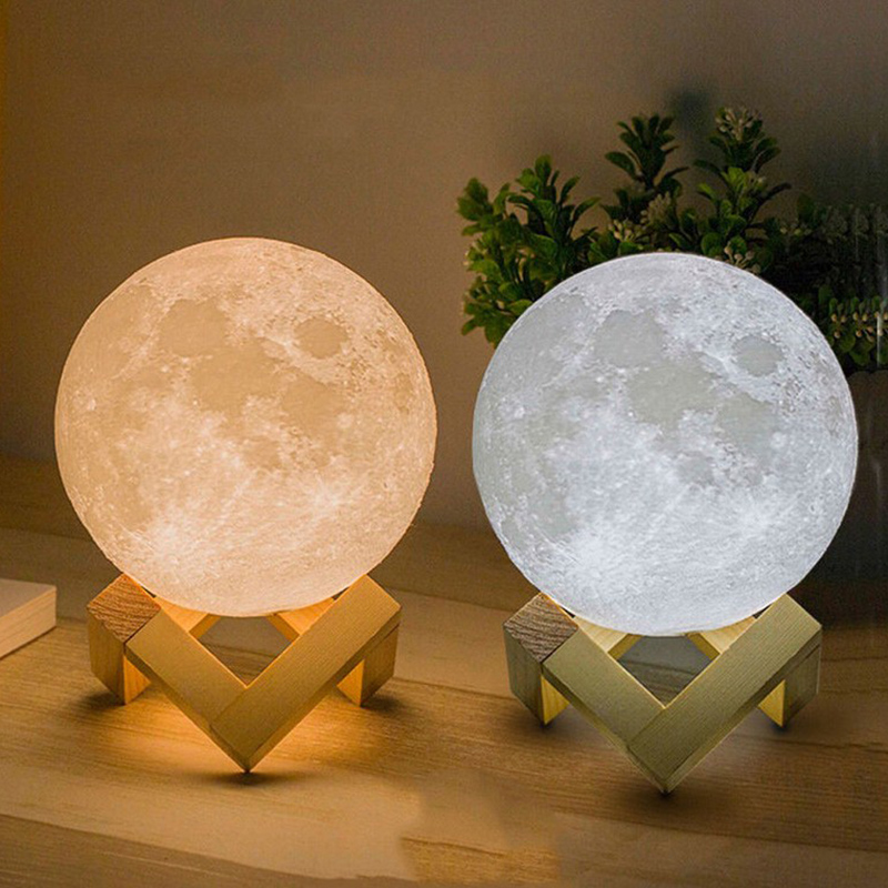 Color Change 3D Print Moon Light Touch Switch Night Light Bedroom Bookcase Home Decor Rechargeable Lamp Creative Gift