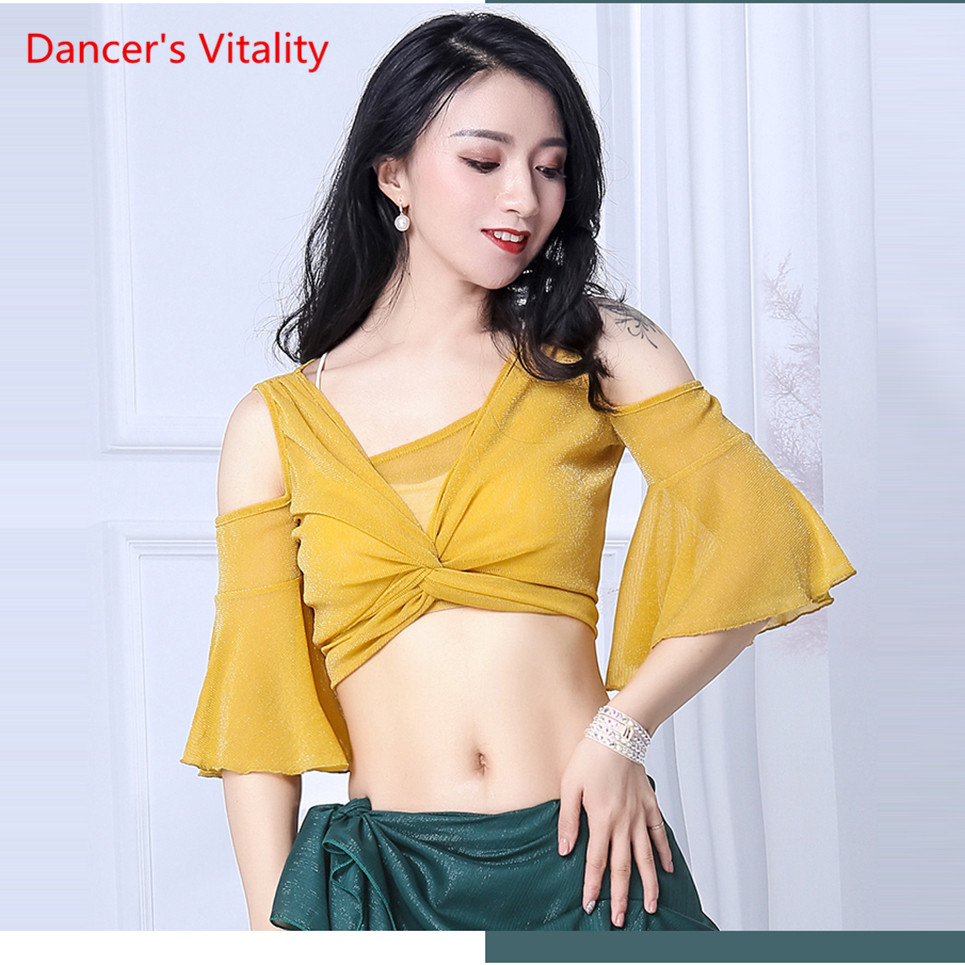 Sexy Transparent Mesh Top Women's Belly Dance Chest Mesh Yellow Cheap For Sale Oriental Belly Dance Dance Top