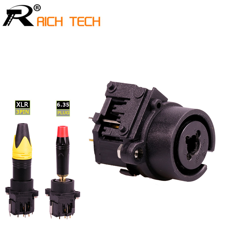 20pcs Straight XLR Connector Dual Functions 3Pin XLR Female Jack Socket Panel Mount+Audio Jack 6.35mm Female Speaker Plug-in Connectors from Lights & Lighting    1