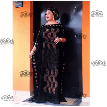 2019 New African  Diamond 100% cotton Chiffon Long Dashiki Dress For Lady  Length :140cm  Wide:115cm (zuan#) - 11, One Size