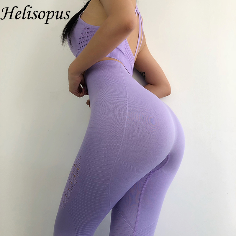 Helisopus Seamless Leggings+Strappy Bra 2Pcs Yoga Set Women Gym Fitness Clothing High Waist Yoga Leggings Set Running Sportswear(China)