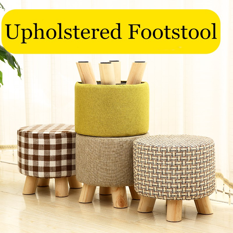 Fashion chair Upholstered Footstool + Wooden Leg Pattern: Round/ square Fabric Pouffe Stool:5 Colors(4 Legs)