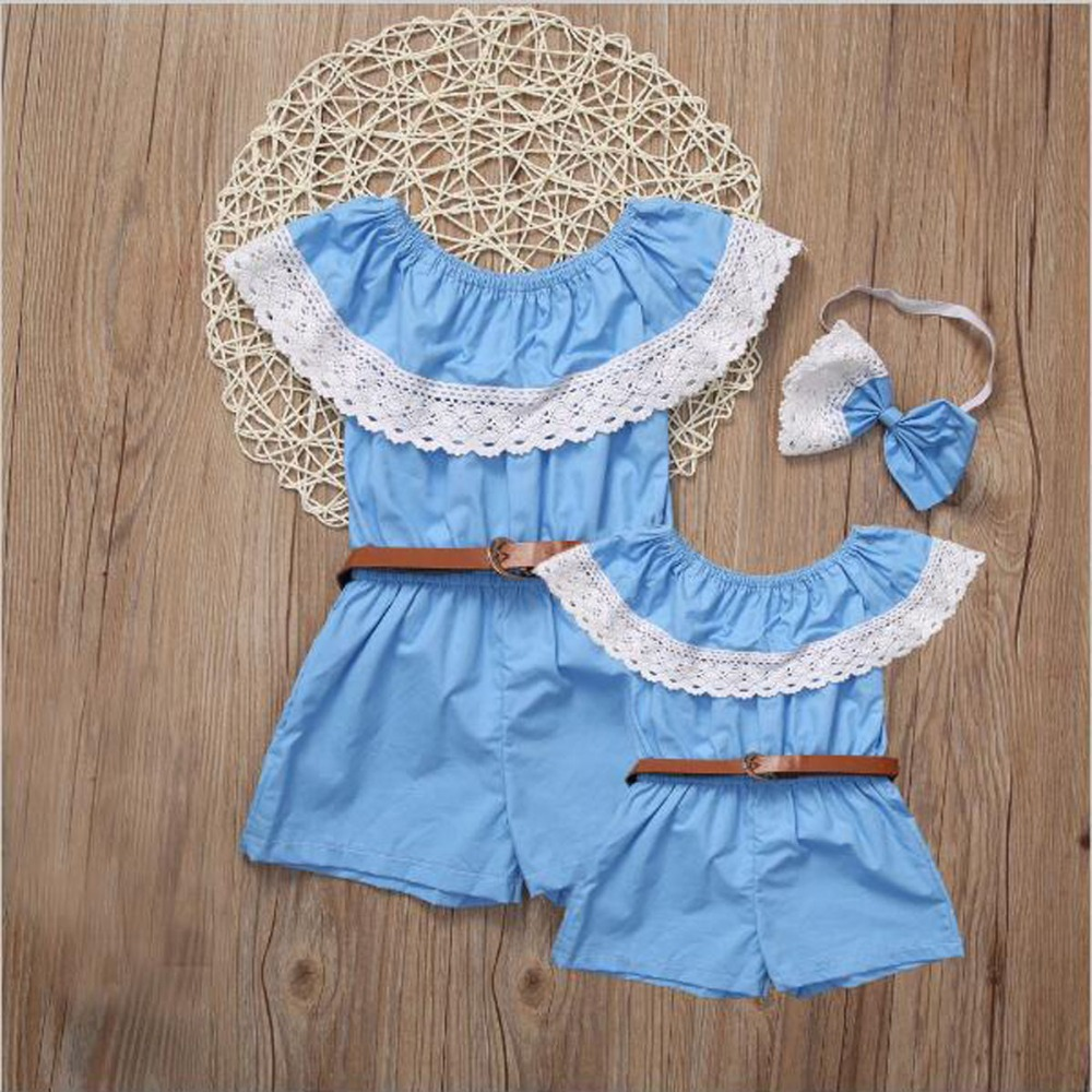 Mommy and Daughter Family Matching Mother Kids Cotton Romper
