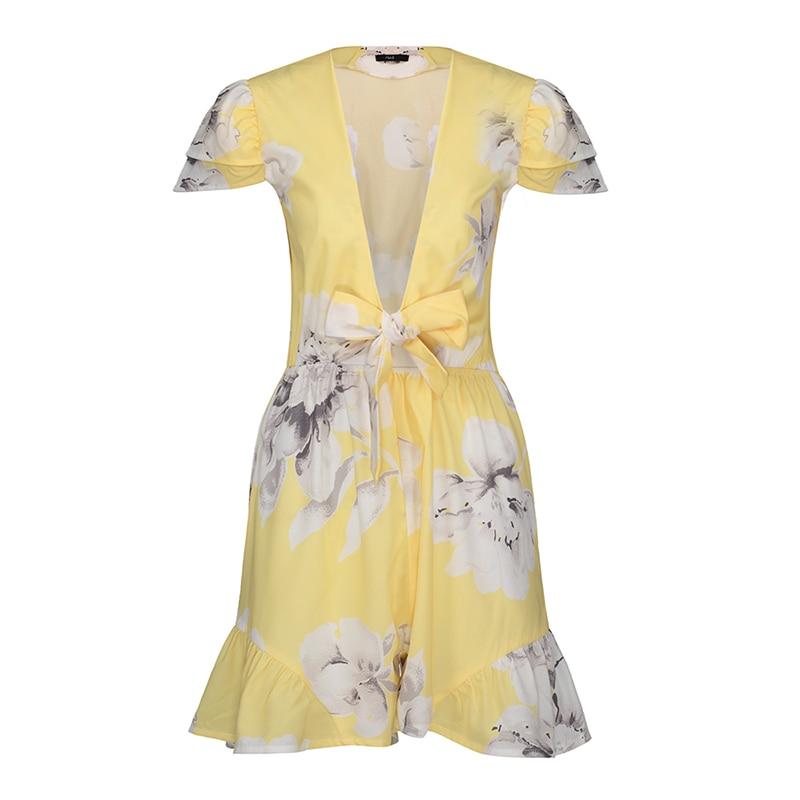 Summer Sexy Jumpsuit Rompers Floral Print Bowknot Yellow Jumpsuit For Girl Color Block Elegant Cute Women jumpsuit 2018