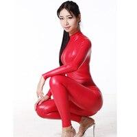Sexy Women Full Body Shiny Leotard Bodysuit Latex Two Way Zipper Open Crotch Elastic Bodysuit Moto & Biker Club Dance Wear FX170