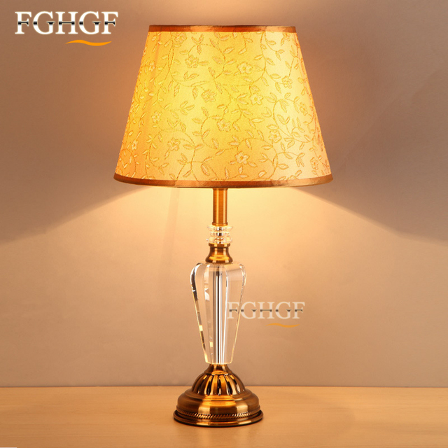 Luxury American Style Table Light Foyer Crystal Table Lamp Glass Tall Table  Lighting Classic Bedside For