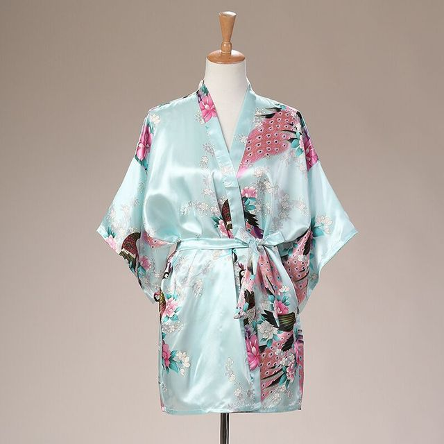 82616905ca Light Blue Summer Women s Mini Kimono Robe Sleepwear Faux Silk Short Bath  Gown Nightgown Mujer Pijama Size S M L XL XXL XXXL 030