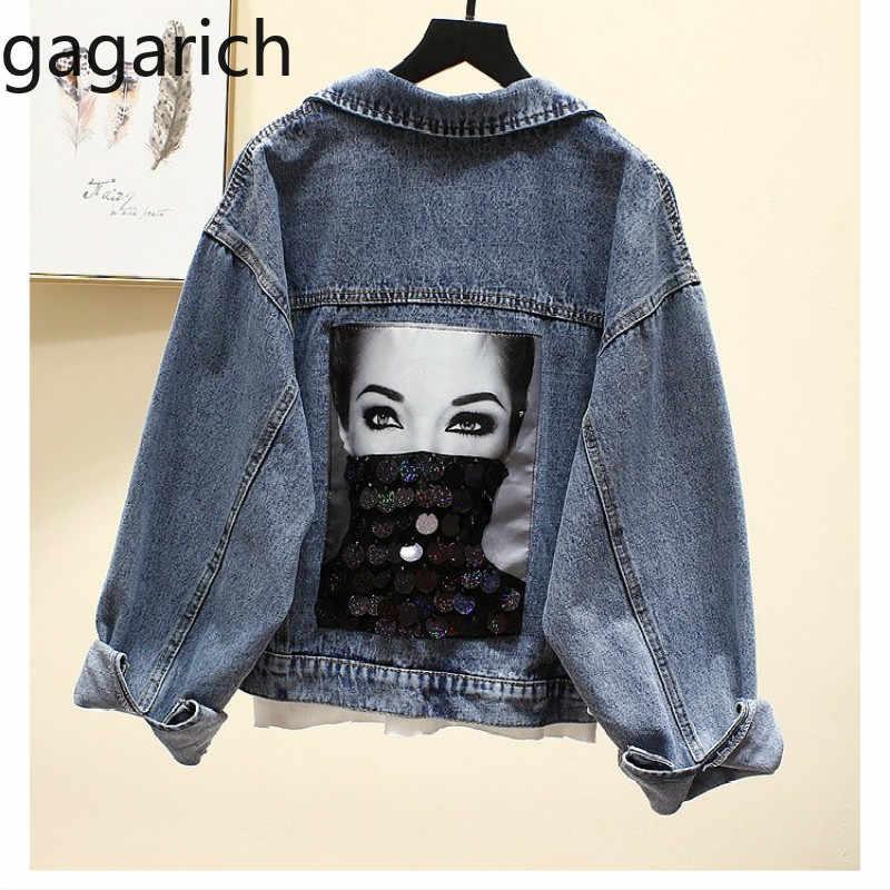Gagarich/джинсовая куртка с дырками и пайетками для женщин, Jaqueta Feminina, свободные уличные джинсы, куртка, Осенние Chaquetas Mujer 2019 Veste Femme