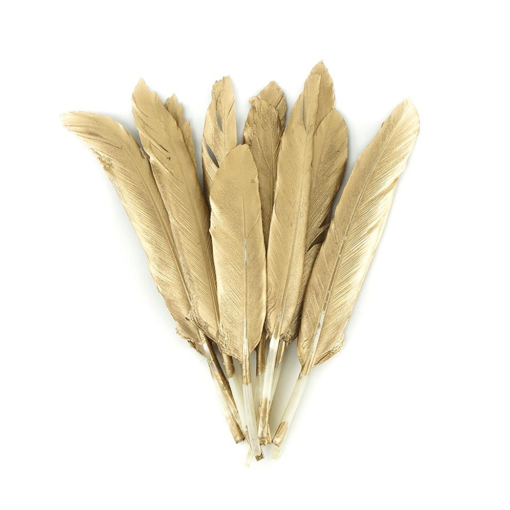 Zengia 30Pcs Gold Feathers, 4-6 Inch, for Various Crafts, DIY Nature Feathers, Decor Feathers