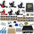 Профессиональный 1 Компл. Полное Оборудование роторная Шесть Татуировки Machine Gun 40 Цветных Чернил Питания Шнур Комплект Тела Красоты DIY инструменты