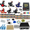 Professional 1 Set Complete Equipment rotary Six Tattoo Machine Gun 40 Color Inks Power Supply Cord Kit Body Beauty DIY Tools