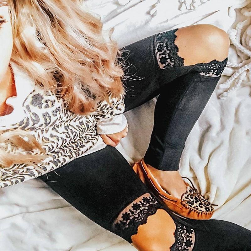 Diwish New Arrival 2019 Summer Women Leggings Pants Sexy Fashion Lace Hole Black Casual Leggings Lady Skinny Leggings Pants